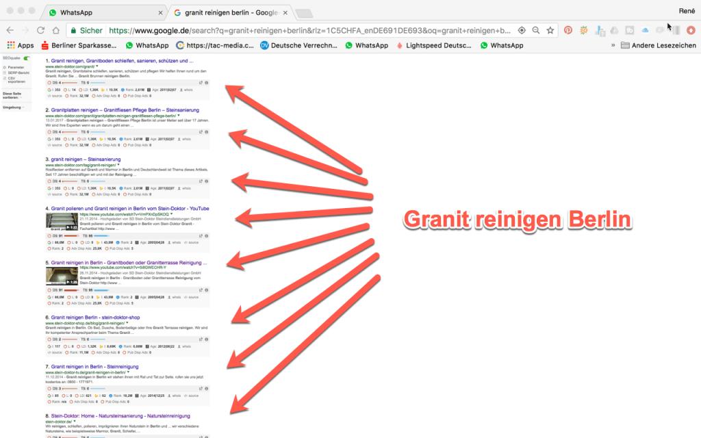 Granit reinigen Berlin Google Digitale Sichtbarkeit Rene Büttner
